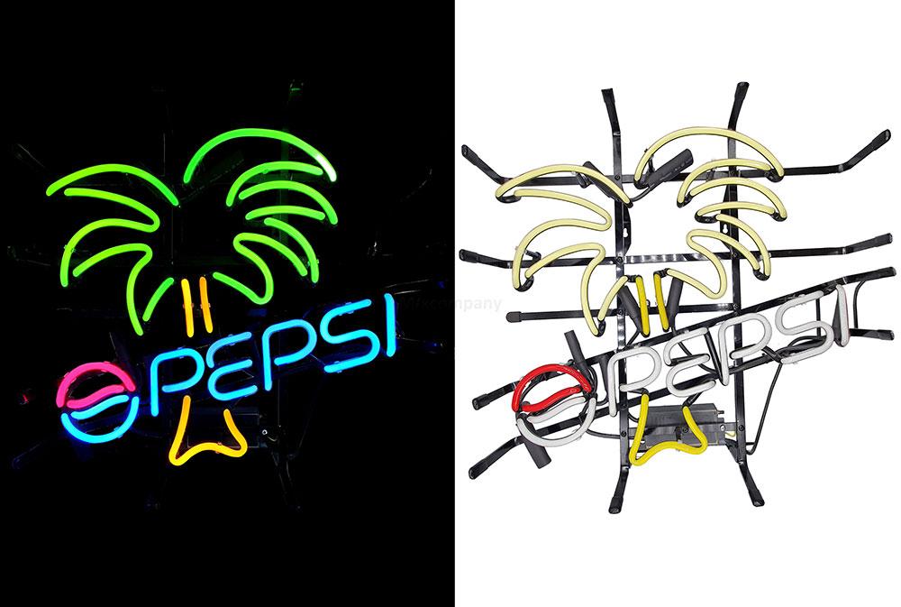 Pepsi Leuchtschild - Palmen Werbeschild / Leuchtreklame / LED Beleuchtet mit Netzteil / Grün Gelb Blau Rot