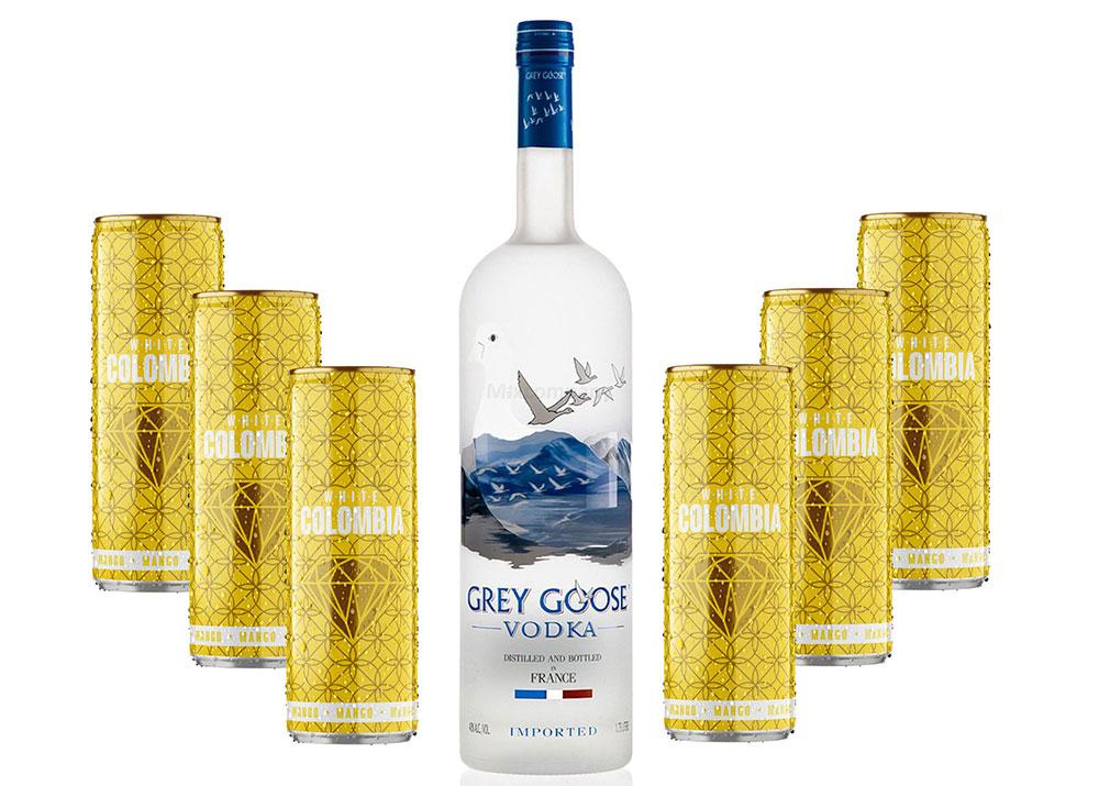 Grey Goose Vodka Wodka Set - Grey Goose Vodka 0,7l 700ml (40% Vol) + White Colombia Mango Set - Erfrischungsgetränk mit Mango-Maracuja-Geschmack - 6x 250ml inkl. Pfand EINWEG - [Enthält Sulfite]