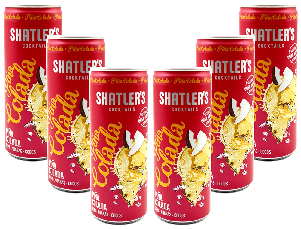 Shatlers Cocktail - 6er Set Shatlers Pina Colada 0,25L (10,1% Vol) inklusive Pfand EINWEG - Shatlers Cocktail - Ready to Go- [Enthält Sulfite]