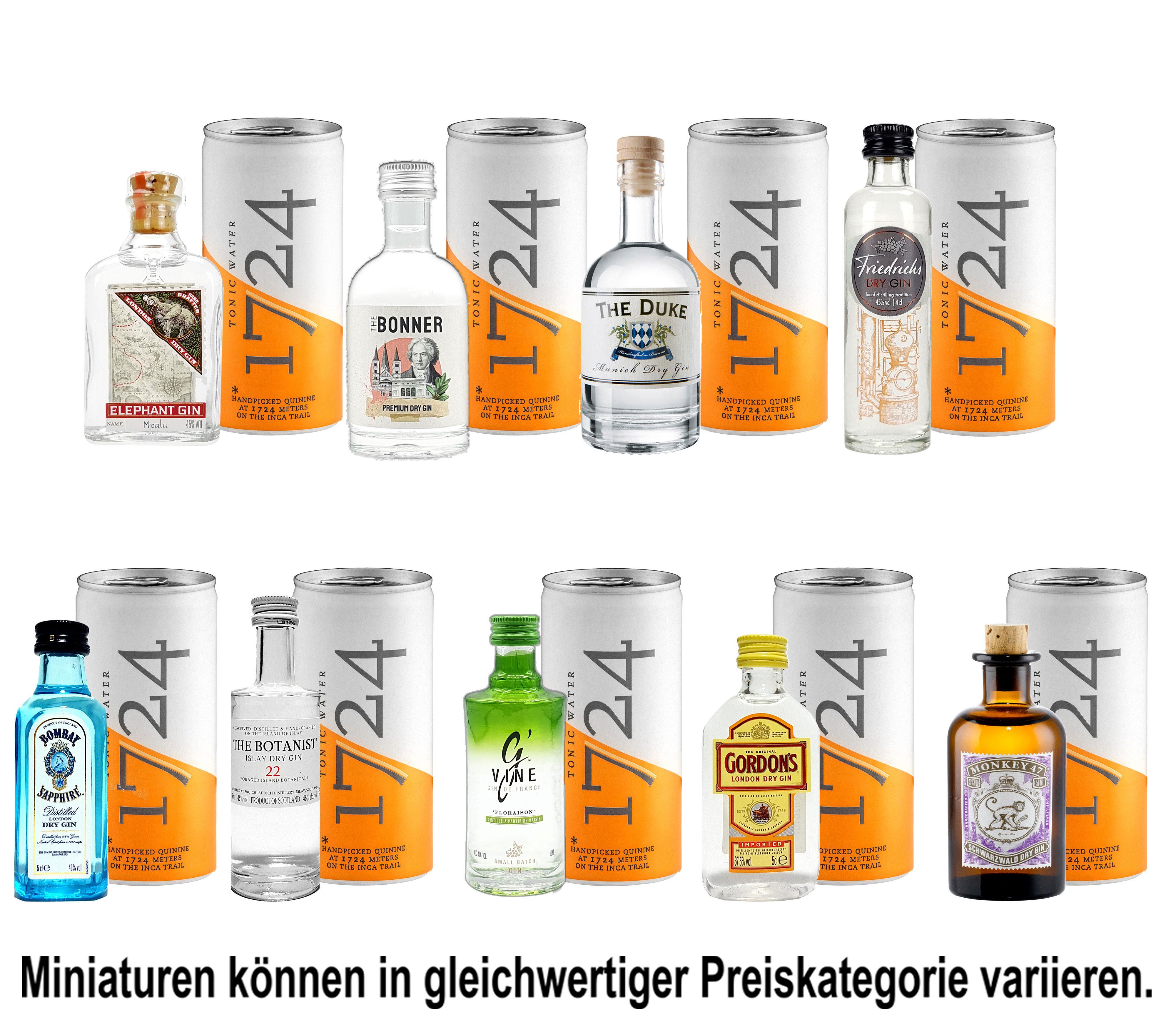 Mini Gin Tonic Probierset - 9 verschiedene Gin Sorten + 9x 1724 Tonic Water 200ml inkl. Pfand MEHRWEG - NEU