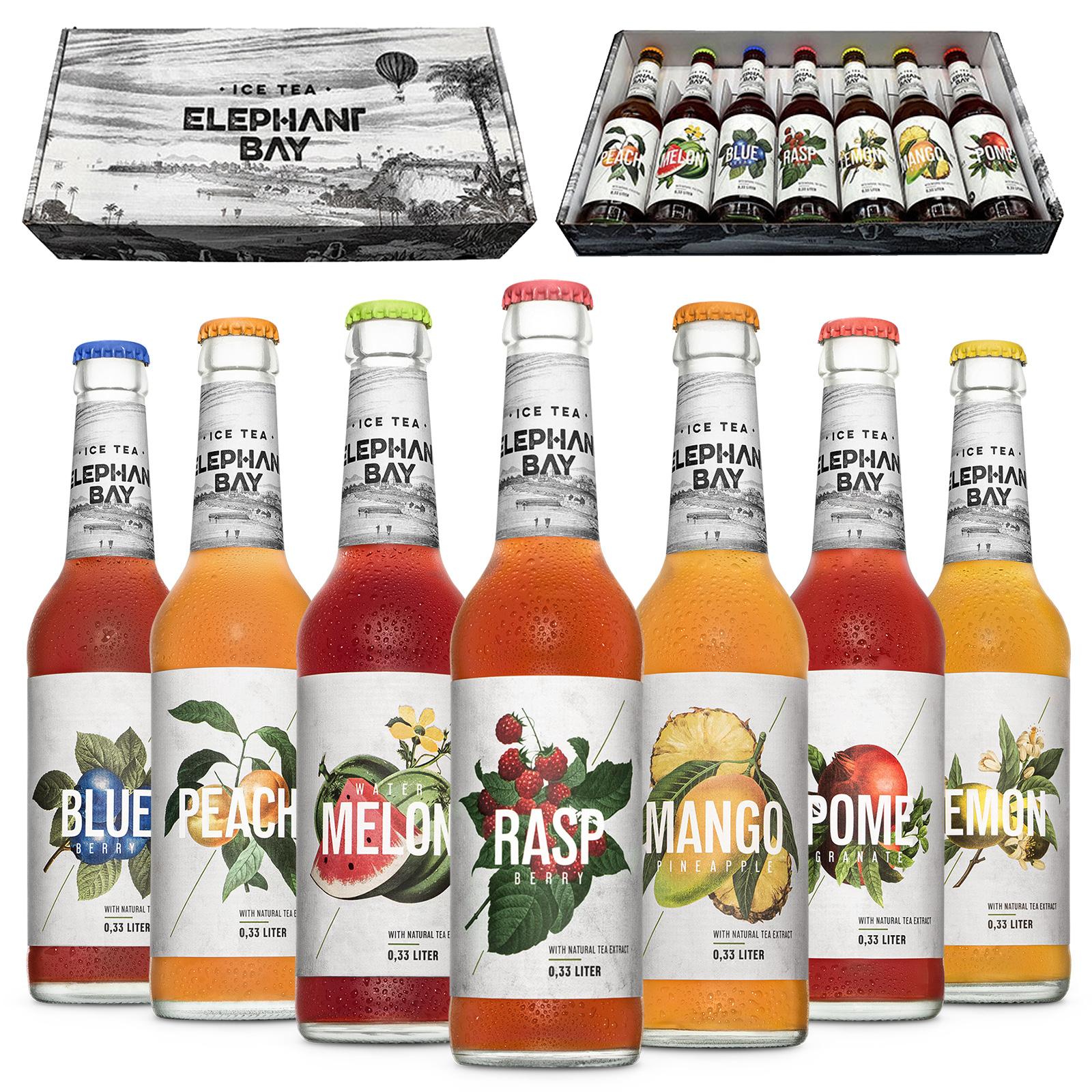 ICE TEA Eistee Elephant Bay - 7 Sorten Probier Set - Peach + Melon + Blueberry + Raspberry + Lemon + Mango + Pomegranate je 330ml