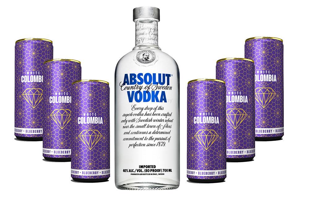 Absolut Vodka Wodka Set - Absolut Vodka 0,7l 700ml (40% Vol) + White Colombia Blueberry Set - Erfrischungsgetränk mit Blueberry Geschmack - 6x 250ml inkl. Pfand EINWEG- [Enthält Sulfite]