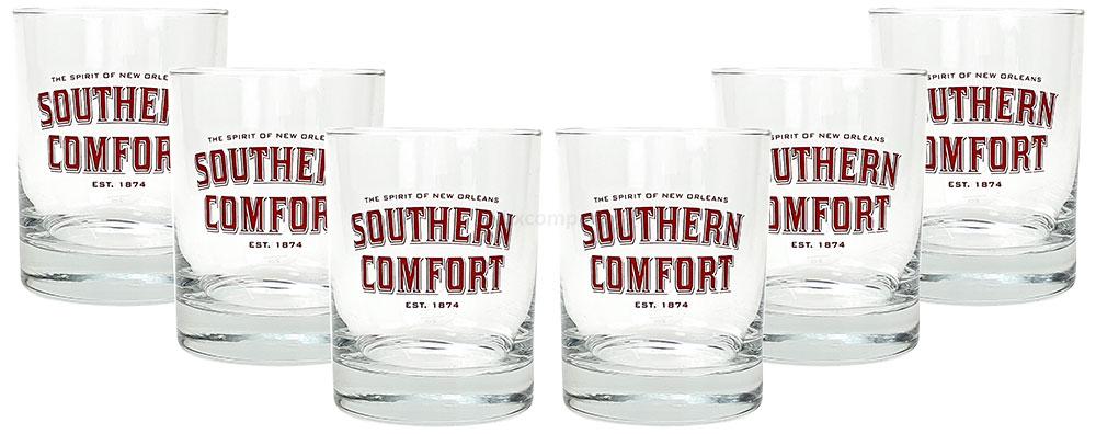 Southern Comfort Tumbler - 6x Glas Gläser / 6er Set - Glas / Tumbler - 2cl + 4cl Eichstrich / Eichung