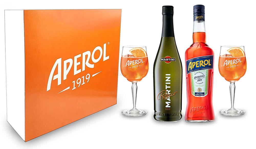Aperol Spritz Geschenkset - Aperol Aperitivo Italiano 1L (11% Vol) + Prosecco 0,7L (10,5% Vol) + 2x Aperol 1919 Gläser / Glas + Giftbox - [Enthält Sulfite]