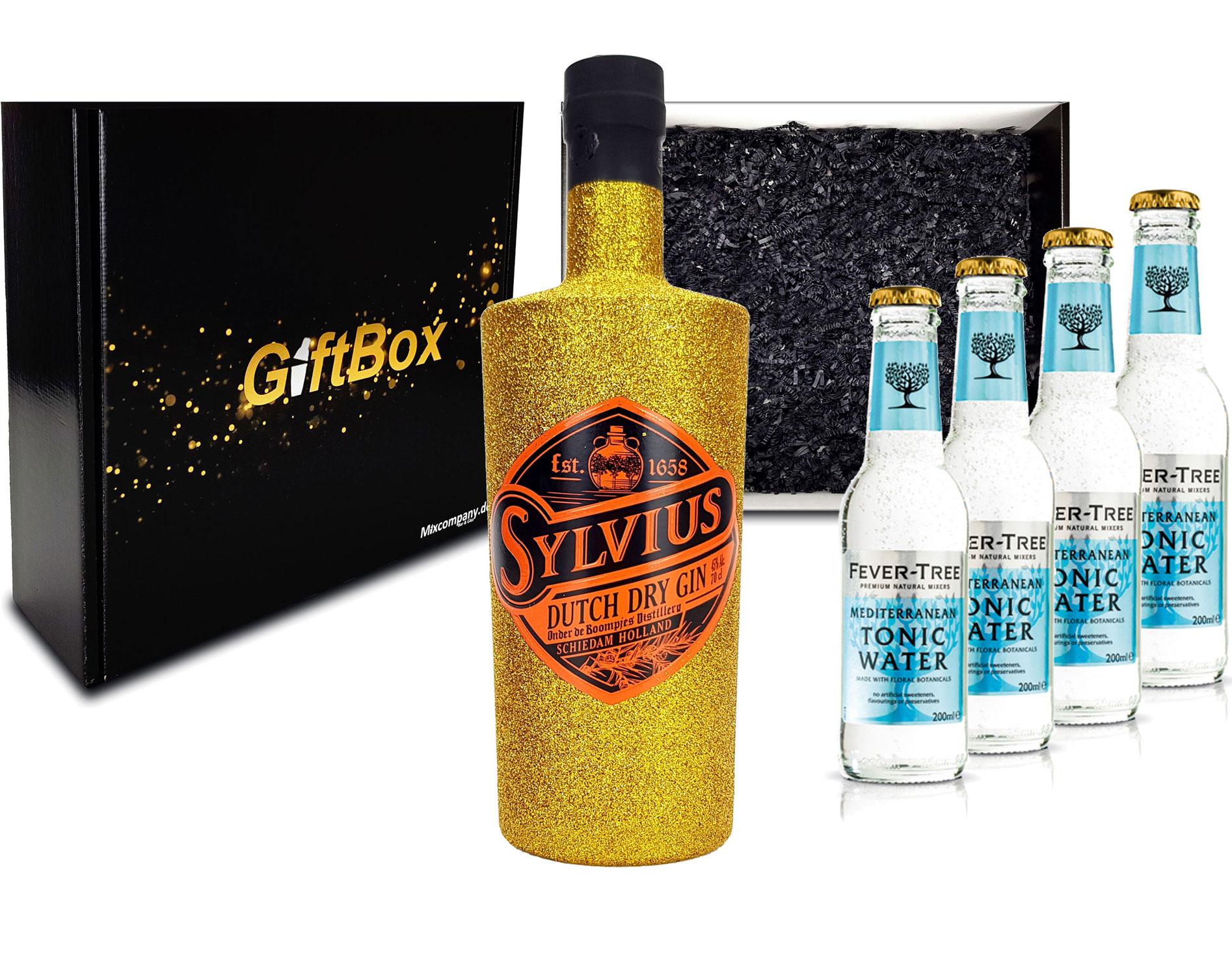 Gin Tonic Giftbox Geschenkset - Sylvius Dutch Gin Bling Bling Glitzerflasche Gold 0,7l 700ml (45% Vol) + 4x Fever Tree Mediterranean Tonic Water 200ml inkl. Pfand MEHRWEG - [Enthält Sulfite]