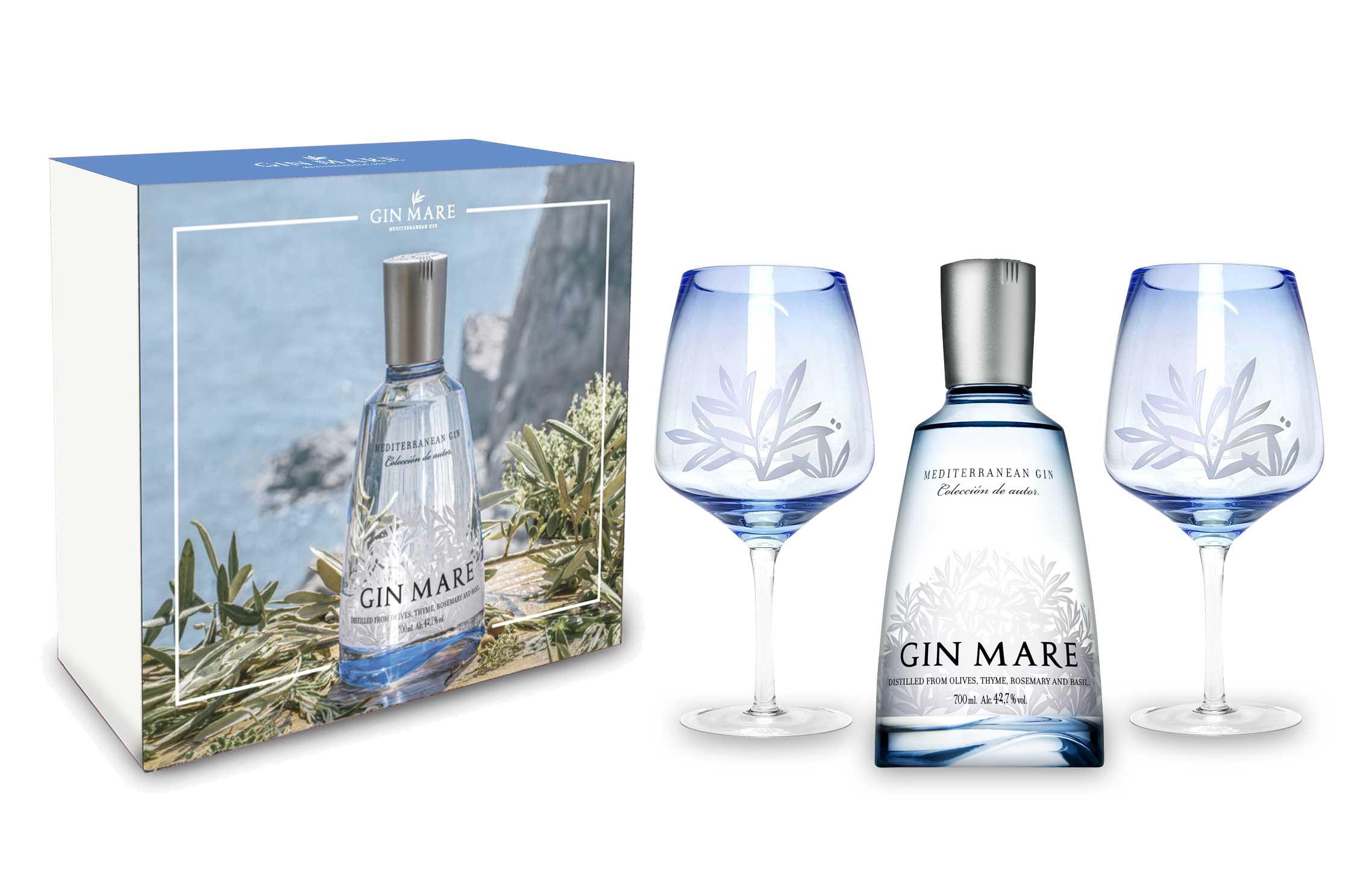 Gin Mare Schuber Geschenkset Mediterranean Gin 0,7L (42,7% Vol) + 2x Gin Mare Ballonglas / 2er Gläser Set - [Enthält Sulfite]