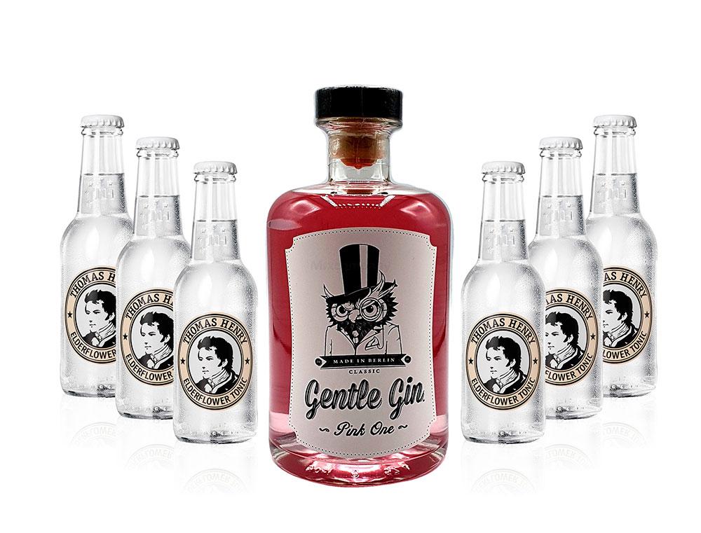 Gin Tonic Set - Gentle Gin Pink One 0,5l (40% Vol) + 6x Thomas Henry Elderflower Tonic 200ml inkl. Pfand MEHRWEG -[Enthält Sulfite]