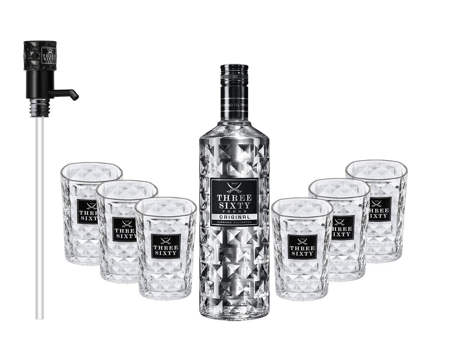 Three Sixty Set Geschenkset - Three Sixty Vodka Wodka3L 3000ml (37,5% Vol) +Pumpe + 6x Tumbler 0,2l 200ml Facettenschliff Glas- [Enthält Sulfite]
