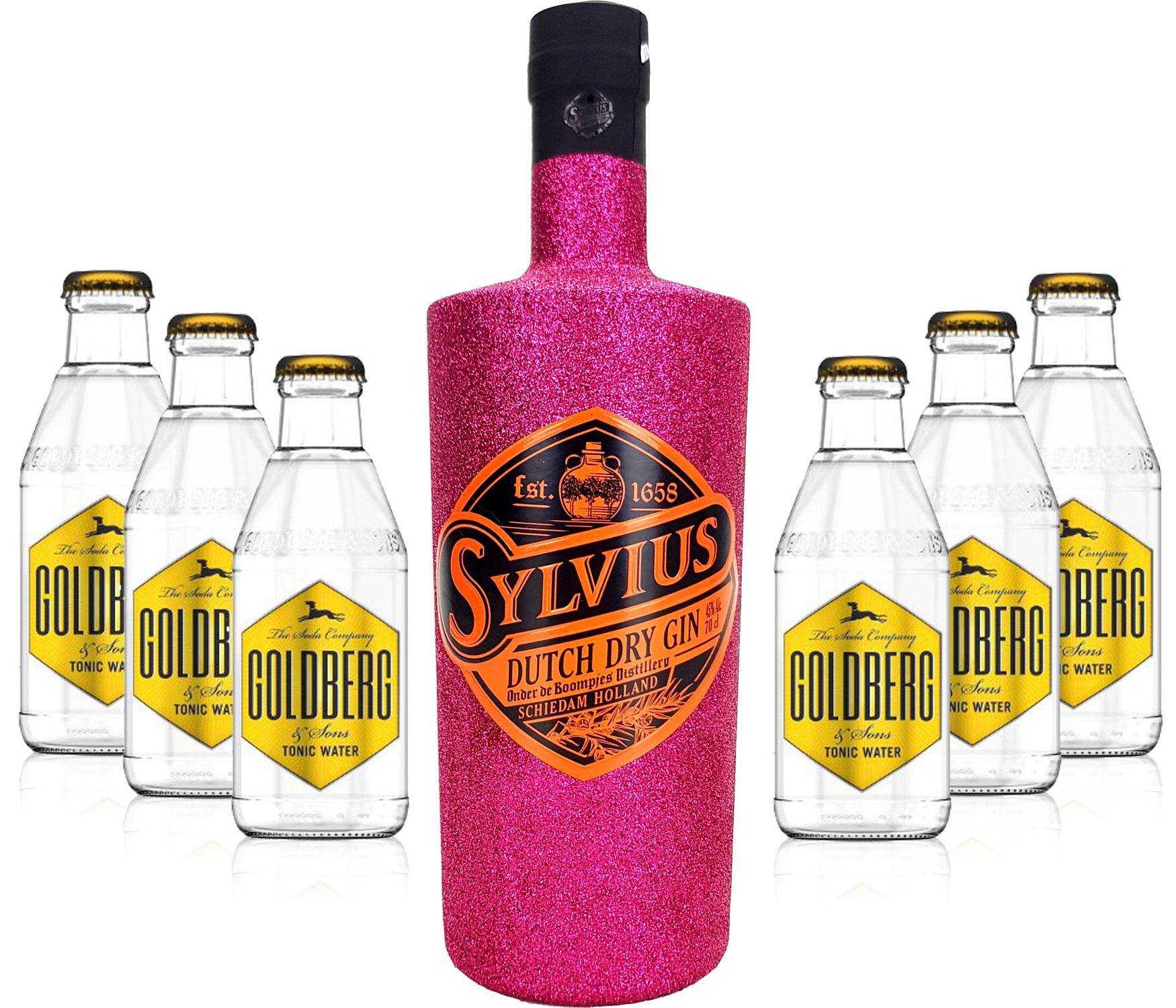 Gin Tonic Bling Bling Hot Pink Glitzer Set Geschenkset - Sylvius Dutch Gin 0,7l 700ml (45% Vol) + 6x Goldberg Tonic Water 200ml inkl. Pfand MEHRWEG -[Enthält Sulfite]