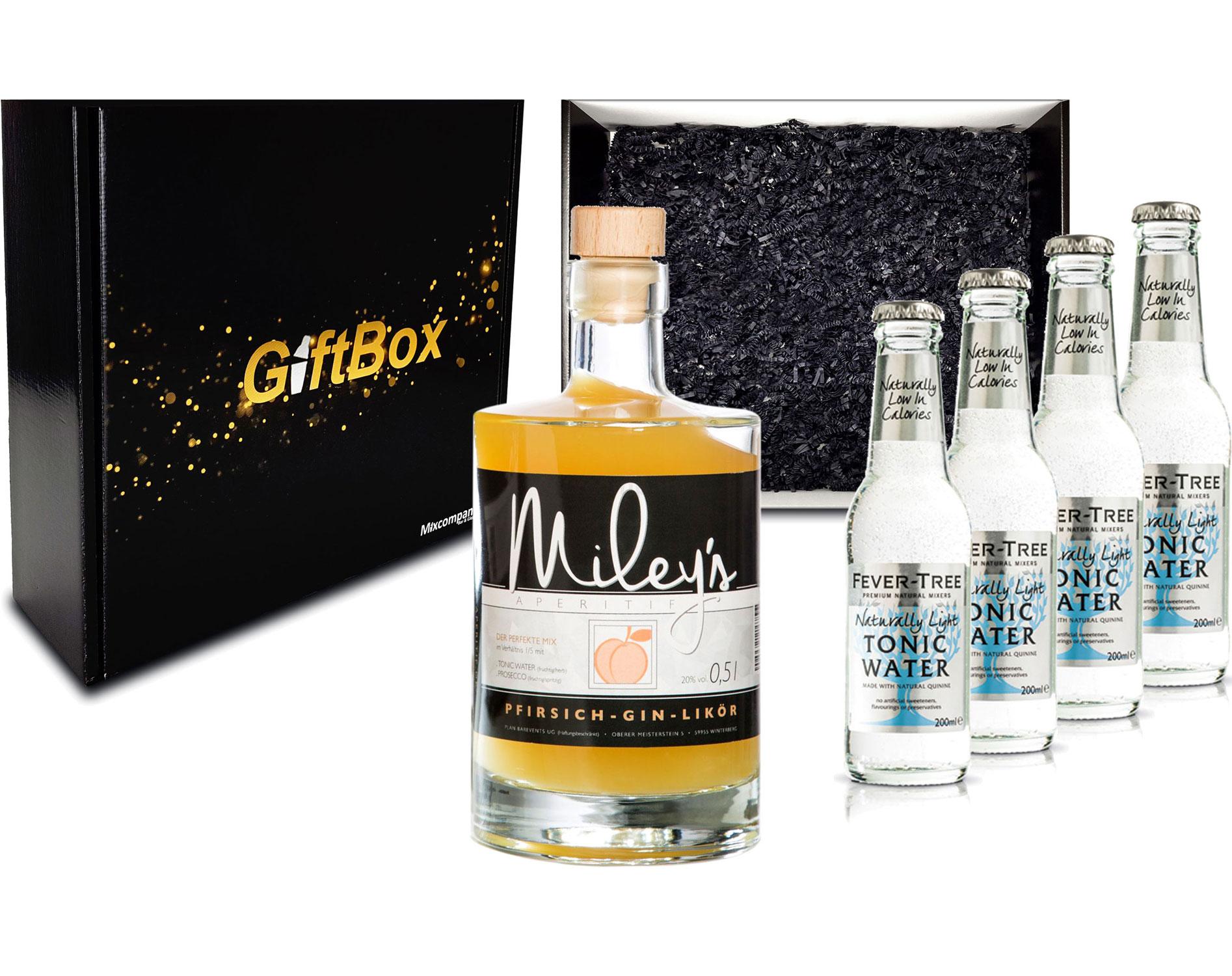 Gin Tonic Giftbox Geschenkset - Mileys Pfirsich Gin Likör 0,5l (20% Vol) + 4x Fever Tree Naturally Light Tonic Water 200ml inkl. Pfand MEHRWEG - [Enthält Sulfite]