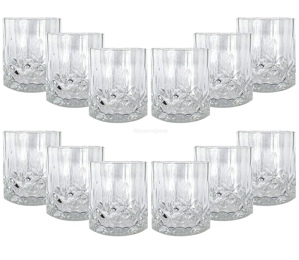 Mixcompany Tumbler Glas / 12er Gläser Set - 12x Whisky Tumbler / Kristall Design Whiskey Glas