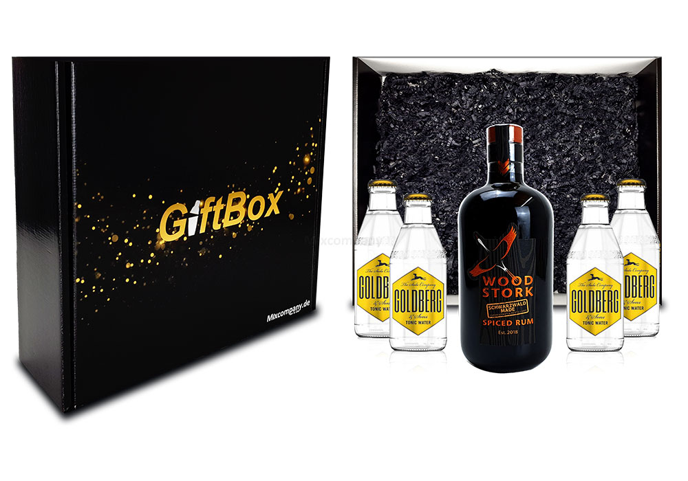 Mixcompany Geschenkset - Wood Stork Rum 0,5L (40%Vol) + 4 x Goldberg Tonic Water 0,2l MEHRWEG inkl. Pfand- Wood Stork Rum Geschenk Set [Enthält Sulfite]