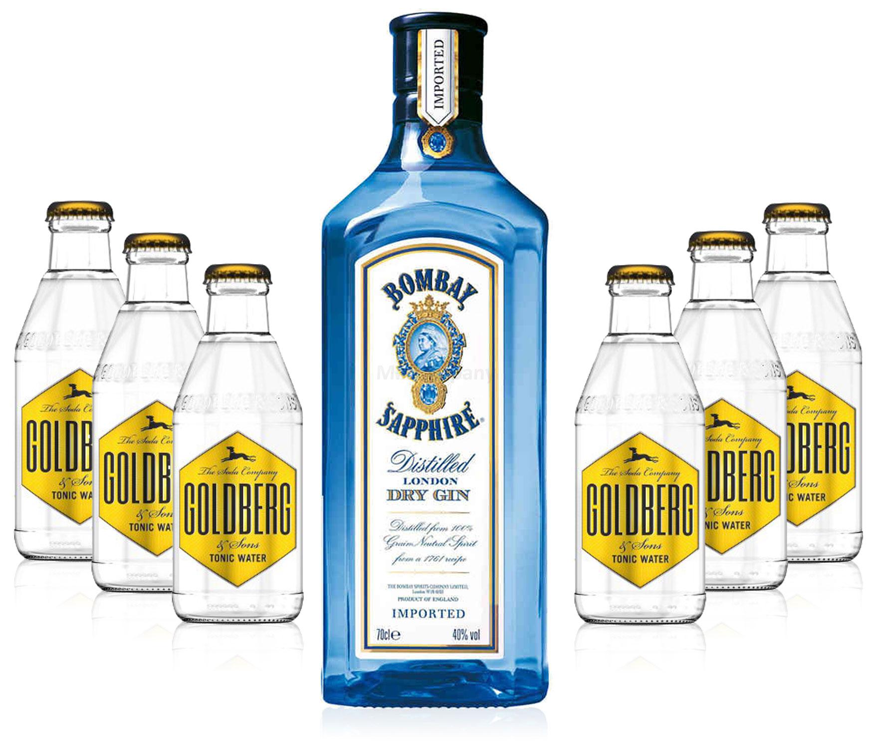 Gin Tonic Set - Bombay Sapphire 0,7l 700ml (40% Vol) + 6x Goldberg Tonic Water 200ml - Inkl. Pfand MEHRWEG