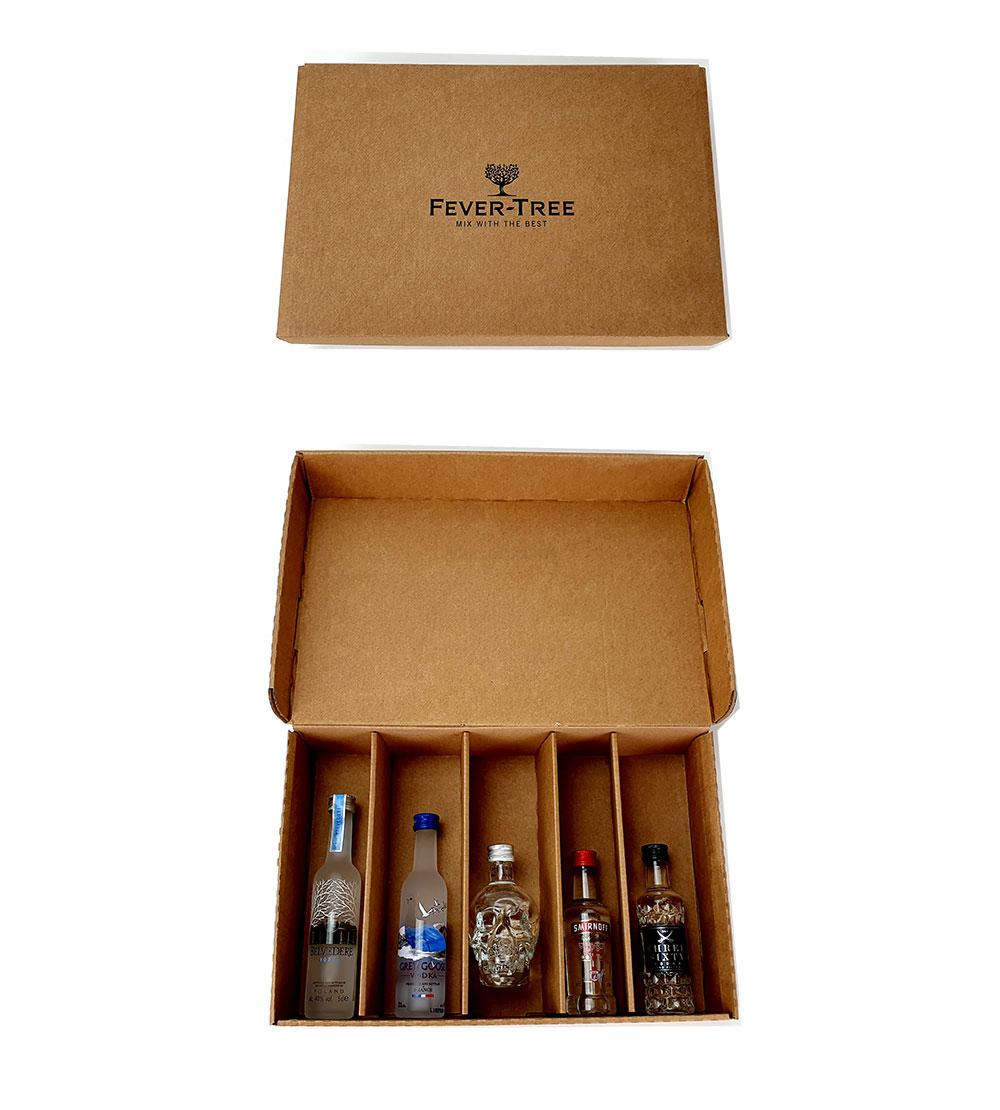 Vodka Probierset Geschenkset - 5x verschiedene Vodka Minis (Belvedere, Grey Goose, Crystal Head, Smirnoff, Beluga) + Fever-Tree Geschenkbox - Inkl. Pfand MEHRWEG