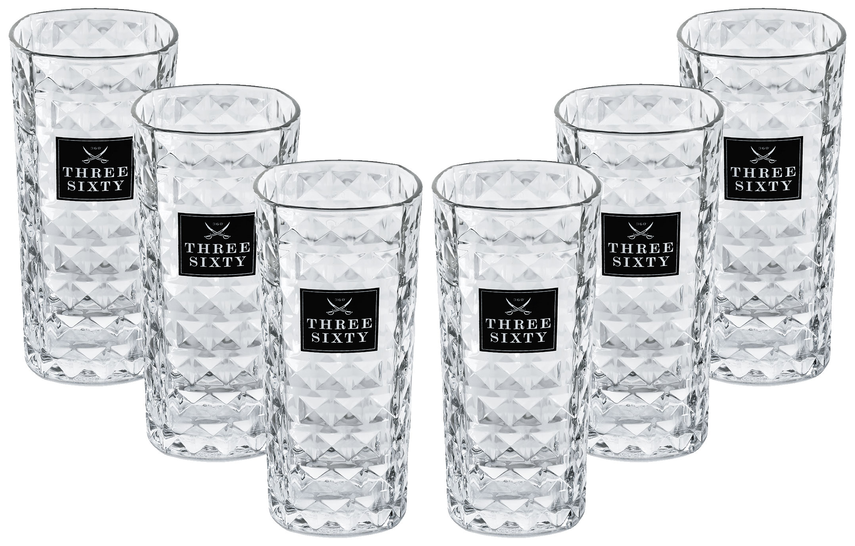 Three Sixty Vodka Longdrink Glas Gläserset eckig - 6x 0,3L geeicht