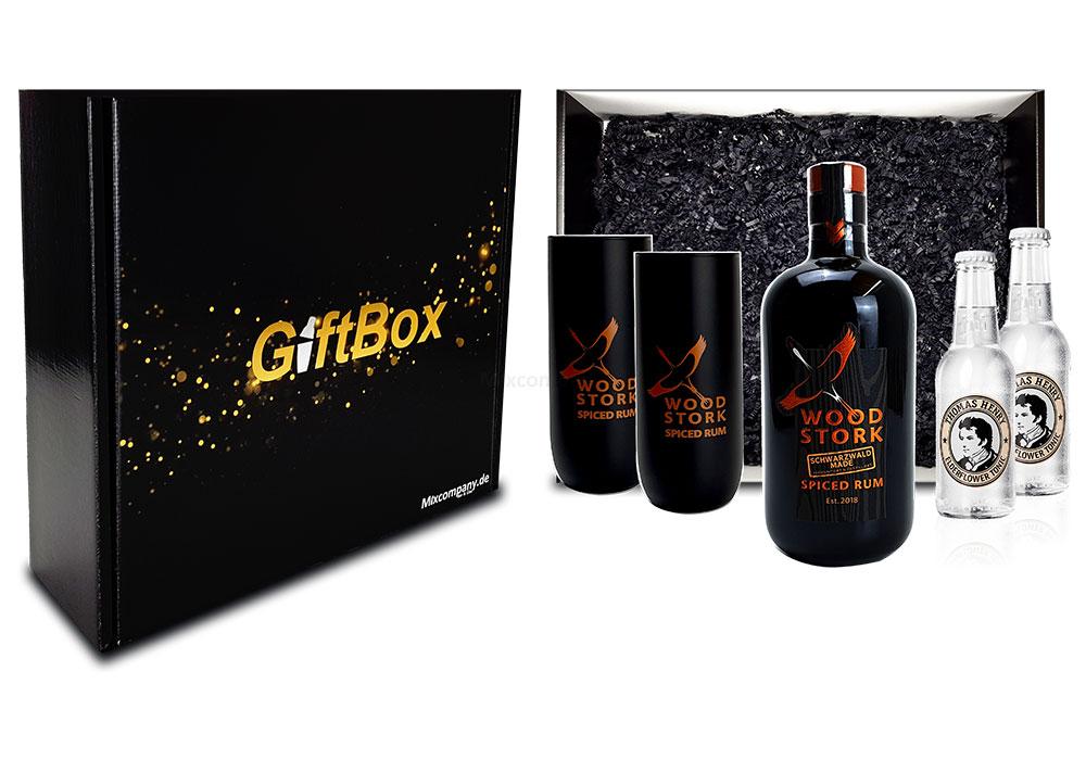 Mixcompany Geschenkset - Wood Stork Rum 0,5L (40%Vol) + 2 x Wood Stork Glas + 2 x Thomas Henry Elderflower Tonic Water 0,2l MEHRWEG inkl. Pfand- Wood Stork Rum Geschenk Set [Enthält Sulfite]