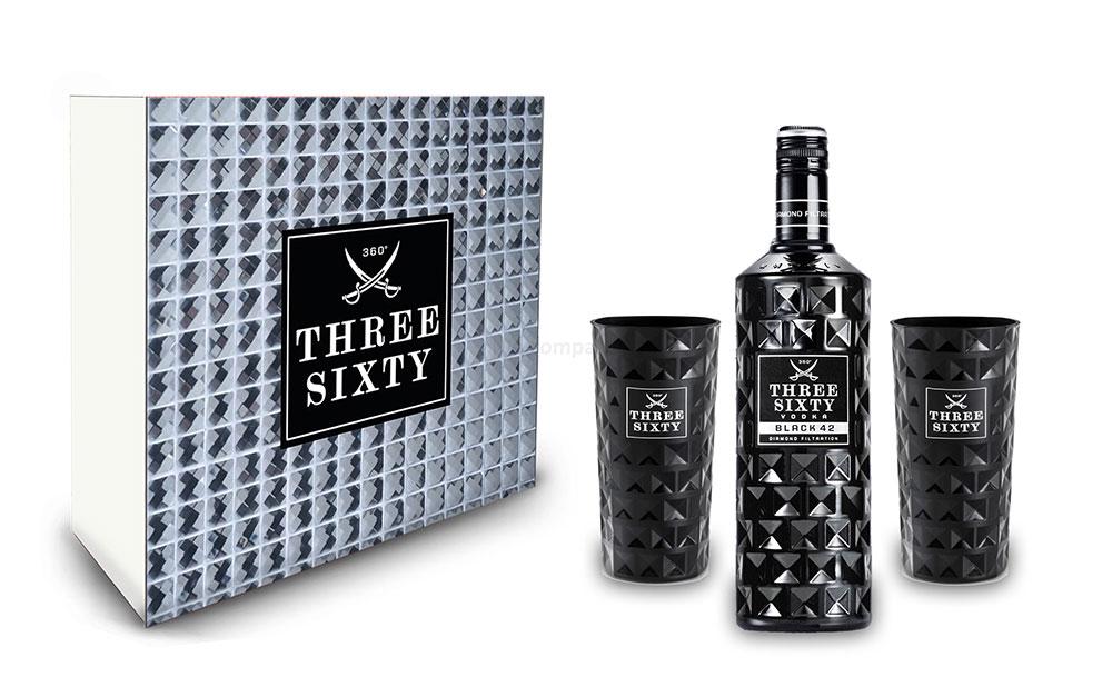 Three Sixty Set Geschenkset Geschenk Box - Three Sixty Black Vodka Wodka 0,7L 700ml (42% Vol) + 2x Black Gläser eckig Longdrink Glas 300ml Fassung Kristall Glas - [Enthält Sulfite]