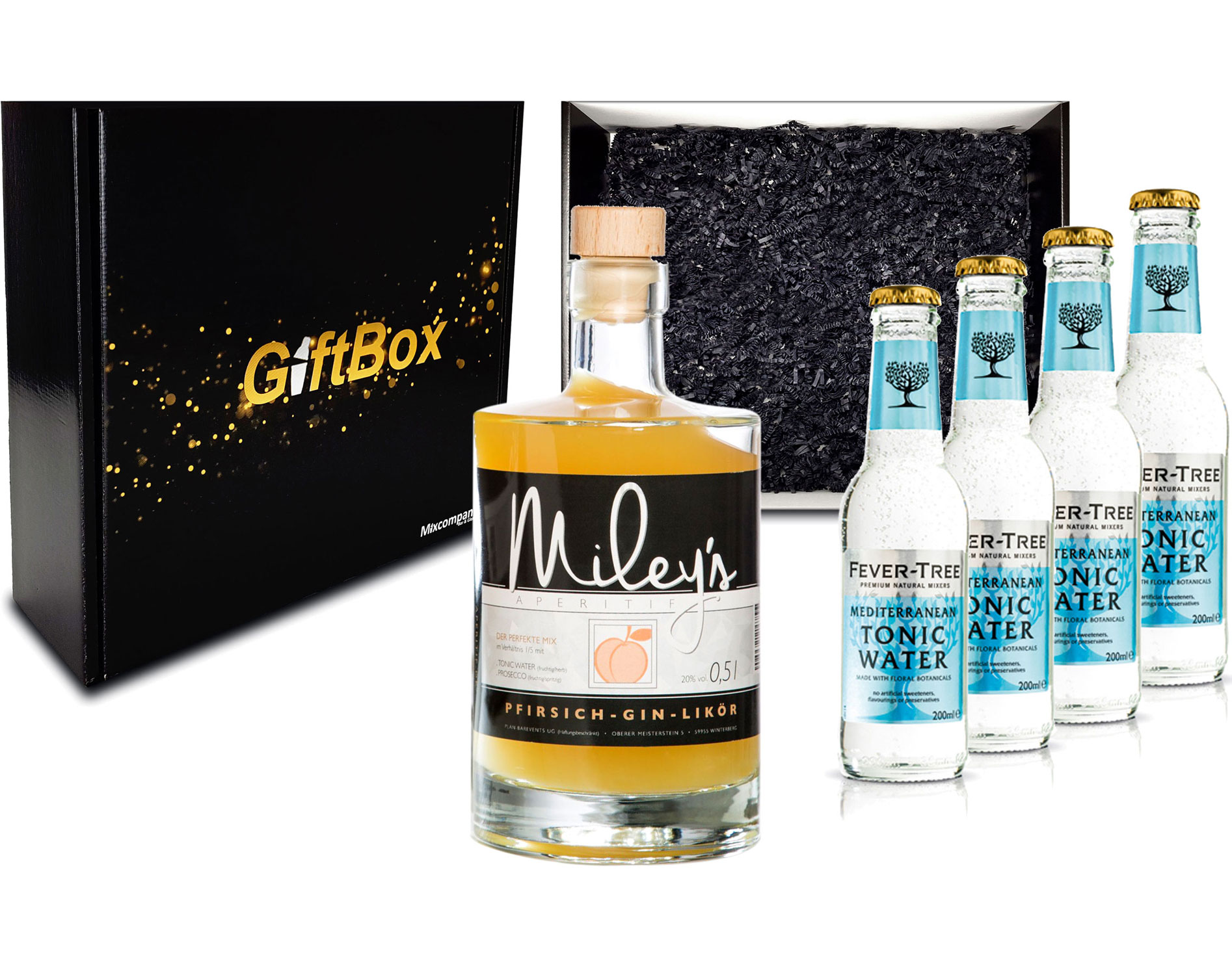 Gin Tonic Giftbox Geschenkset - Mileys Pfirsich Gin Likör 0,5l (20% Vol) + 4x Fever Tree Mediterranean Tonic Water 200ml inkl. Pfand MEHRWEG - [Enthält Sulfite]