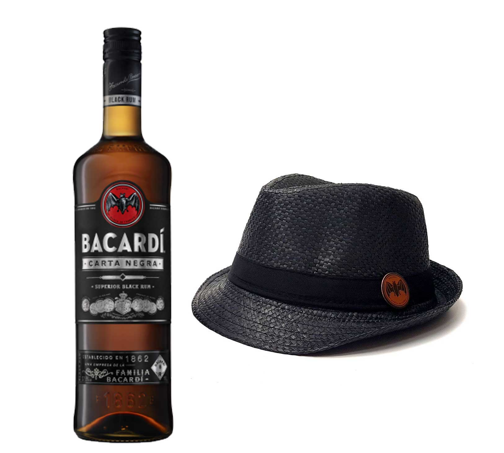 Bacardi Carta Negra Rum 1L (40% Vol) + Strohhut schwarz