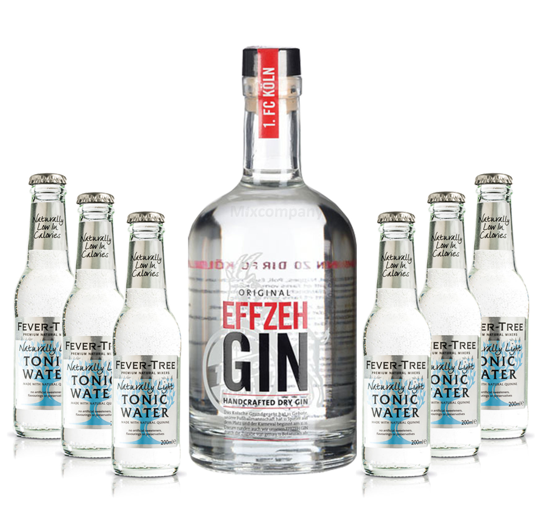 Effzeh Handcrafted Dry Gin 0,5l 500ml (42% Vol) + 6xFEVER-TREE Naturally Light Indian Tonic Water 0,2l MEHRWEG inkl. Pfand - [Enthält Sulfite]
