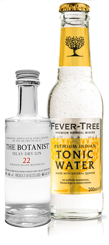Gin Tonic Probierset - The Botanist Islay Dry Gin 50ml (46% Vol) + Fever-Tree Tonic Water 200ml inkl. Pfand MEHRWEG
