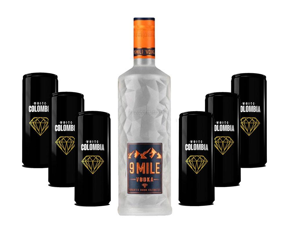9 Mile Vodka Wodka Set - 9 Mile Vodka Wodka 0,7l (37,5% Vol) + White Colombia Classic Set - Erfrischungsgetränk - 6x 250ml inkl. Pfand EINWEG- [Enthält Sulfite]