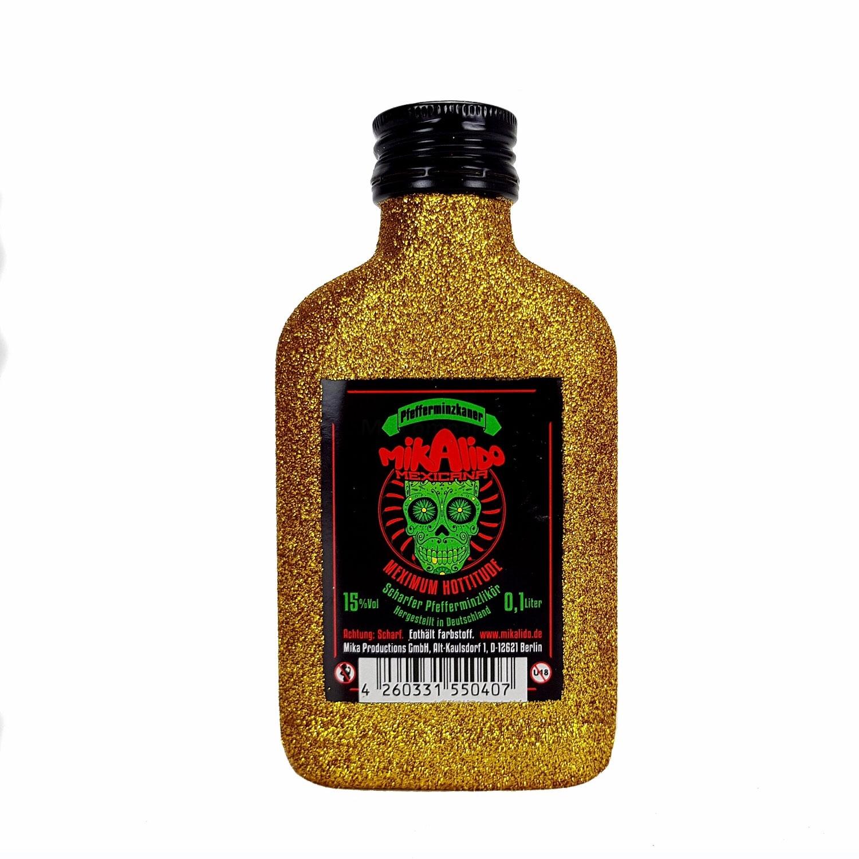 Mikalido Mexicana Pfefferminzkaner Scharfer Pfefferminzlikör 0,1l (15% Vol) Blin Bling Glitzerflasche in gold -[Enthält Sulfite]