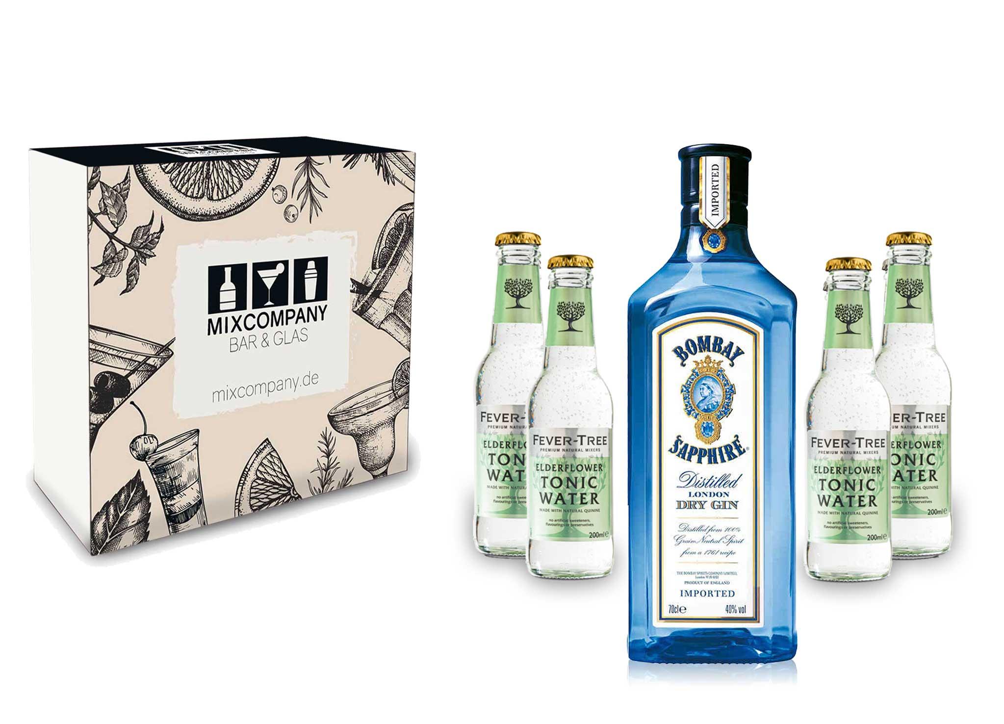 Gin Tonic Giftbox Geschenkset - Bombay Sapphire 0,7l 700ml (40% Vol) + 4x Fever Tree Elderflower Tonic Water 200ml inkl. Pfand MEHRWEG + Geschenkverpackung