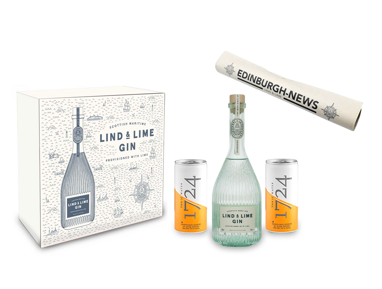 Lind & Lime Schuber Geschenkset - Gin 0,7L (44% Vol) mit 2x 1724 Tonic Water 0,2L + Lind & Lime Edinburgh News Zeitung inkl. Pfand EINWEG- [Enthält Sulfite]