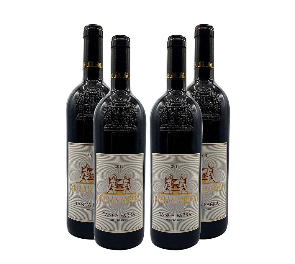 Sella und Mosca Rotwein - 4er Set - 4x 0,75L (13,5% Vol) - Tanca Farra Alghero Rosso / Rotwein - Italien - [Enthält Sulfite]
