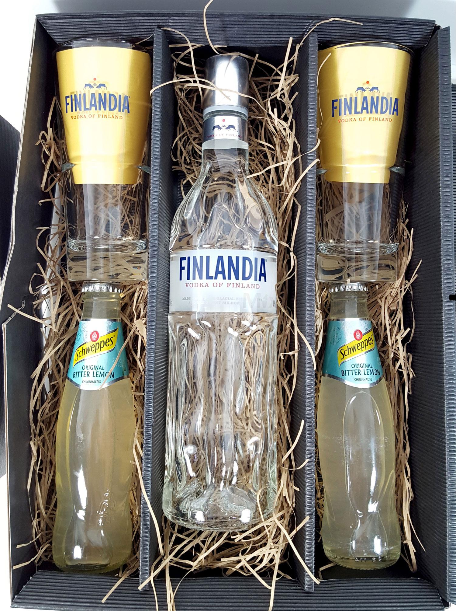 Finlandia Set / Geschenkset - Finlandia Vodka of Finland 1L (40% Vol) + 2x Gläser 2/4cl geeicht + 2x Schweppes Bitter Lemon 200ml - Inkl. Pfand MEHRWEG