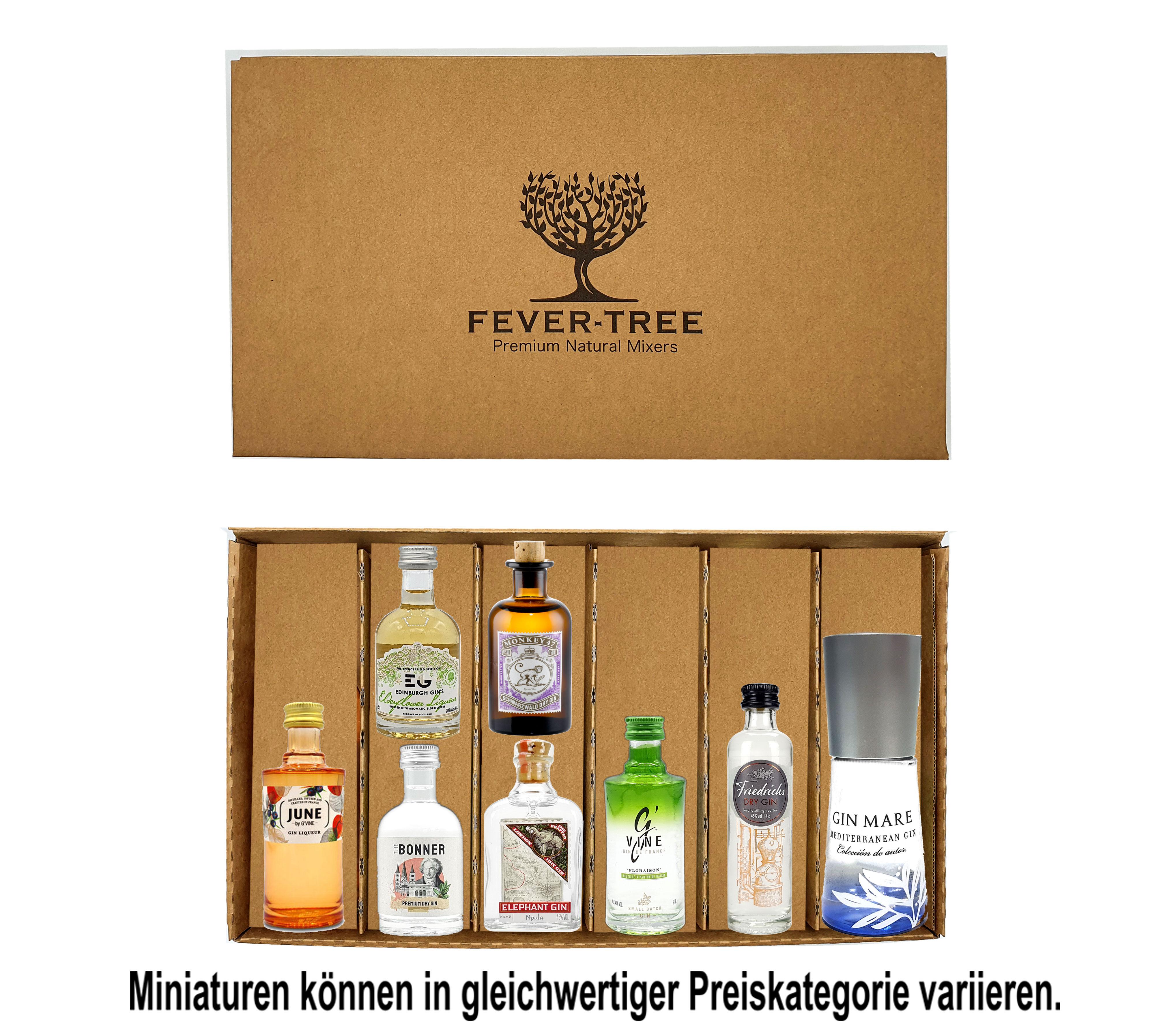 Gin Probierset Geschenkset - 8x verschiedene Gin Minis + Fever-Tree Geschenkbox