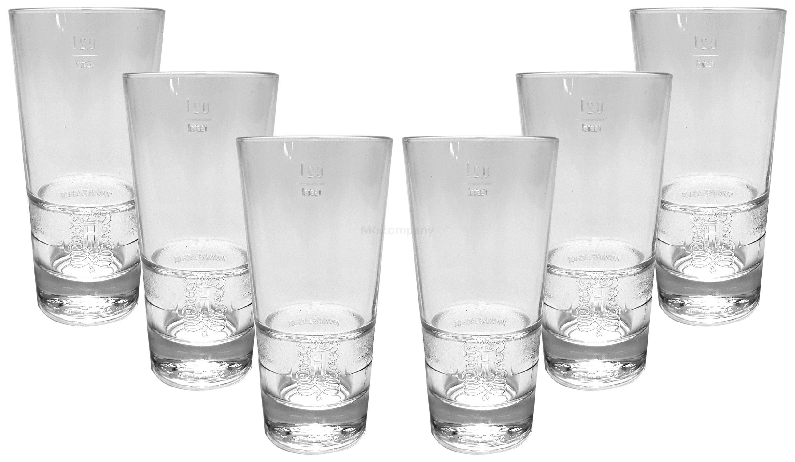 Asbach Longdrink Glas Gläserset - 6x Gläser 20cl geeicht