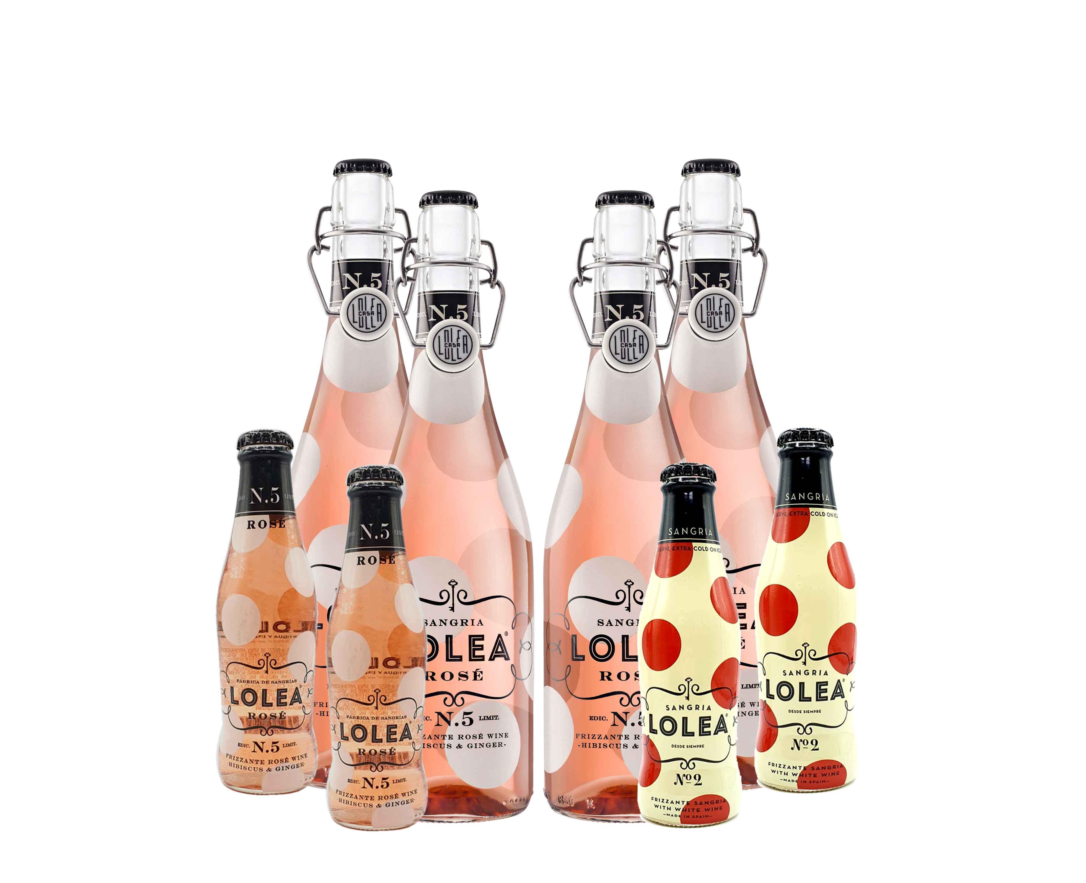 Lolea 4er Set Sangria N°5 ROSE 0,75L (8% Vol) 4x Rosewein + 4 Minis GRATIS 2xROSE 0,2L (8% Vol) 2xWEIß 0,2L (7% Vol) GRATIS [Enthält Sulfite]