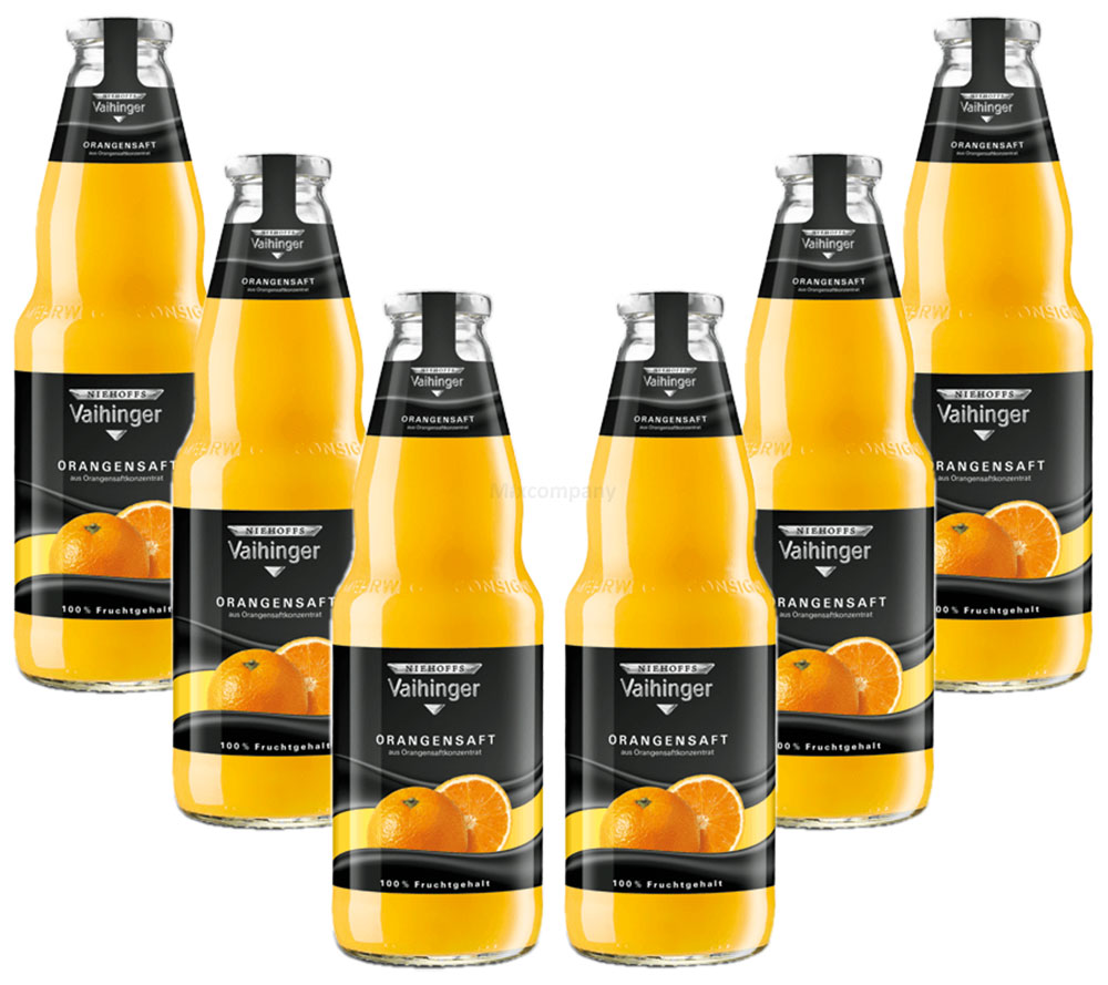 Niehoffs Vaihinger Orangensaft 1L TWO - 6er Set inkl. Pfand MEHRWEG