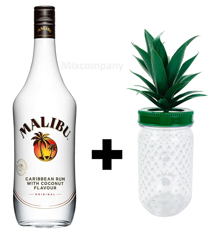 Malibu Karibik Rum Kokos Aroma 0,7l 700ml (21% Vol) Caribbean Kokosrum + Malibu Cocktail Becher aus Kunststoff ananasform grün ca. 0,3l 300ml Mehrweg Trinkbecher Cocktailbecher Ananas Glas Gläser- [Enthält Sulfite]