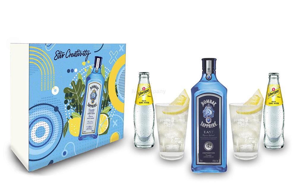 Bombay Tonic Geschenkset - Bombay Sapphire EAST Gin 0,7l (42% Vol) + 2er Set Longdrink Glas + 2x Schweppes Tonic Water 200ml inkl. Pfand MEHRWEG - [Enthält Sulfite]