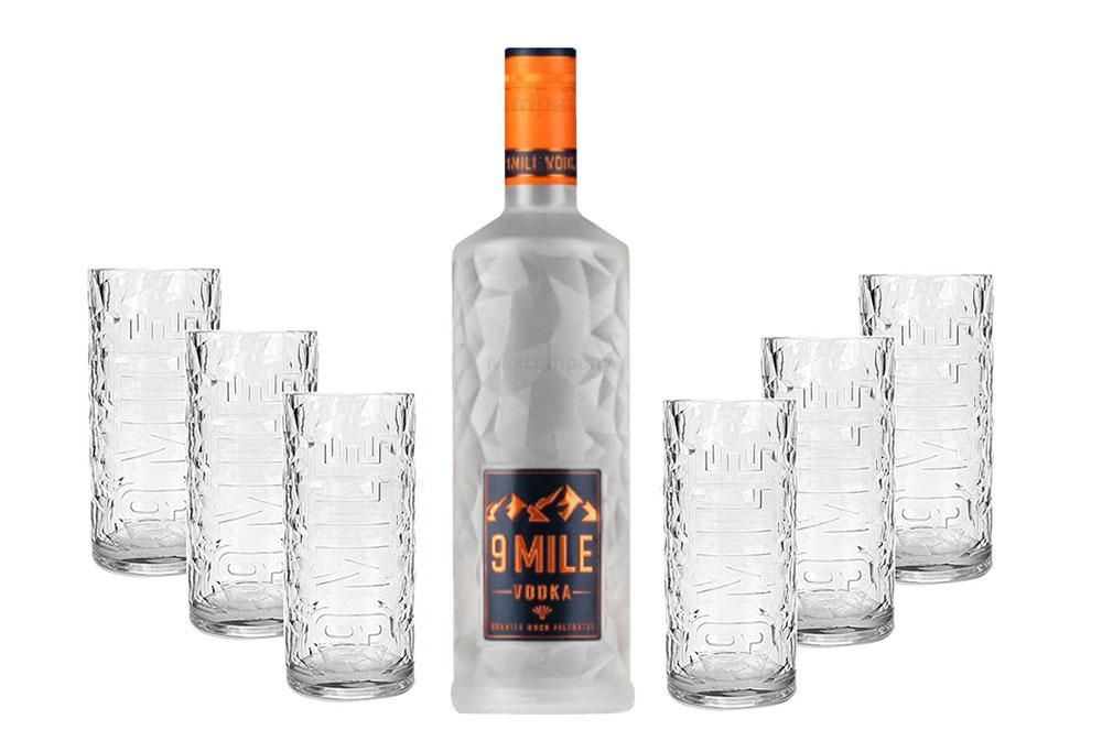 9 Mile Vodka Wodka 0,7l (37,5% Vol) + 6er Set 9 Mile Longdrinkmilchglas / Longdrink Glas / Gläser Set - 6x Longdrinkgläser aus Milchglas - [Enthält Sulfite]
