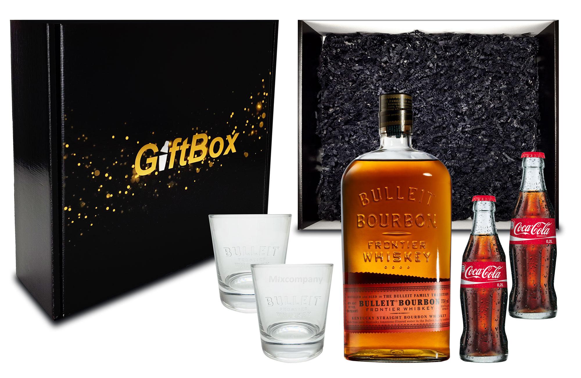 Giftbox Geschenkset Bulleit Bourbon Frontier Whiskey 0,7l (45% Vol) + 2x Coca Cola 0,2L Mehrweg + 2xGläser Glas inkl. Pfand - [Enthält Sulfite]