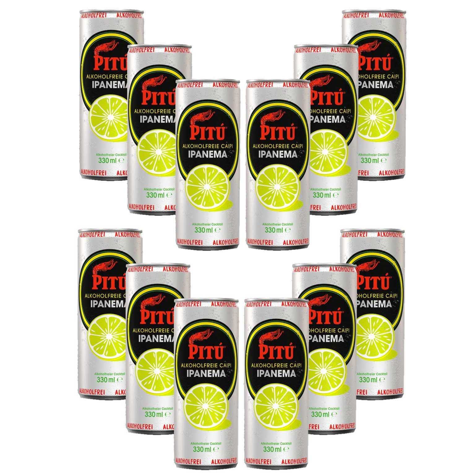 Pitu Ipanema 12er Set alkoholfreier fertig Cocktail 12x 0,33L ready to drink ohne Alkohol inklusive Pfand EINWEG