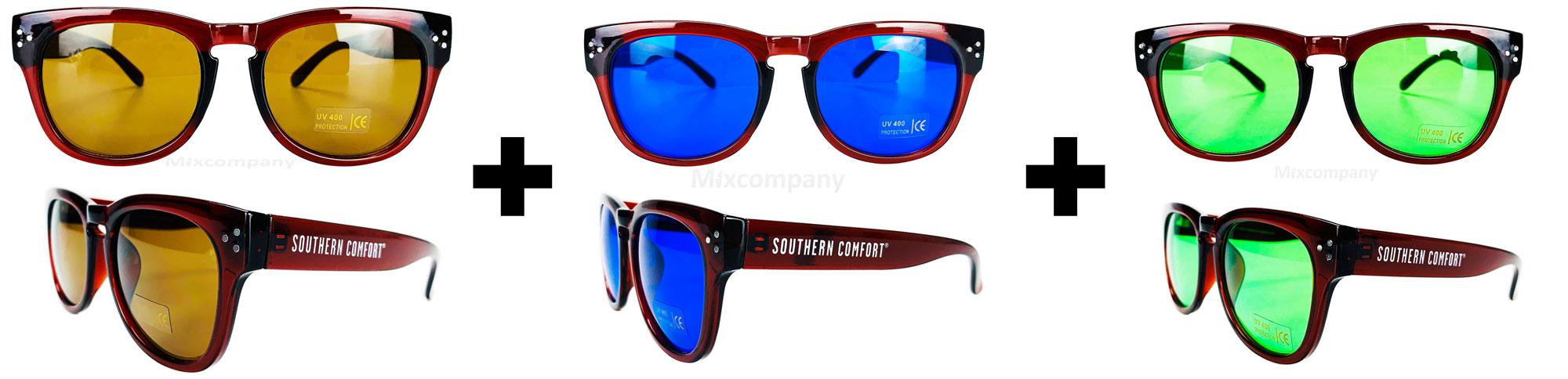 Southern Comfort Nerd Sonnenbrille braun+blau+grün UV400 Unisex - 3er Set Retro Vintage Style Party Festival Bar