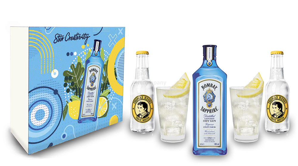 Bombay Sapphire Gin Tonic Set / Geschenkset - Bombay Sapphire London Dry Gin 0,7l 700ml (40% Vol.) + 2x Thomas Henry Tonic Water 200ml + 2x Gläser - Inkl. Pfand MEHRWEG