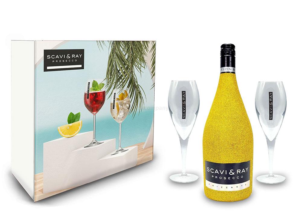Scavi & Ray Bling Bling Gold Glitzer Giftbox Geschenkset - Scavi & Ray Prosecco Frizzante 0,75l (10% Vol) + 2x Prosecco Gläser -[Enthält Sulfite]