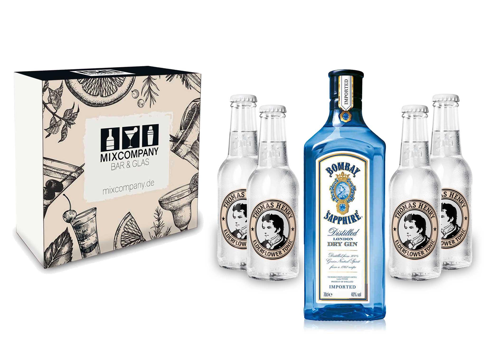 Gin Tonic Giftbox Geschenkset - Bombay Sapphire 0,7l 700ml (40% Vol) + 4x Thomas Henry Elderflower Tonic Water 200ml inkl. Pfand MEHRWEG + Geschenkverpackung