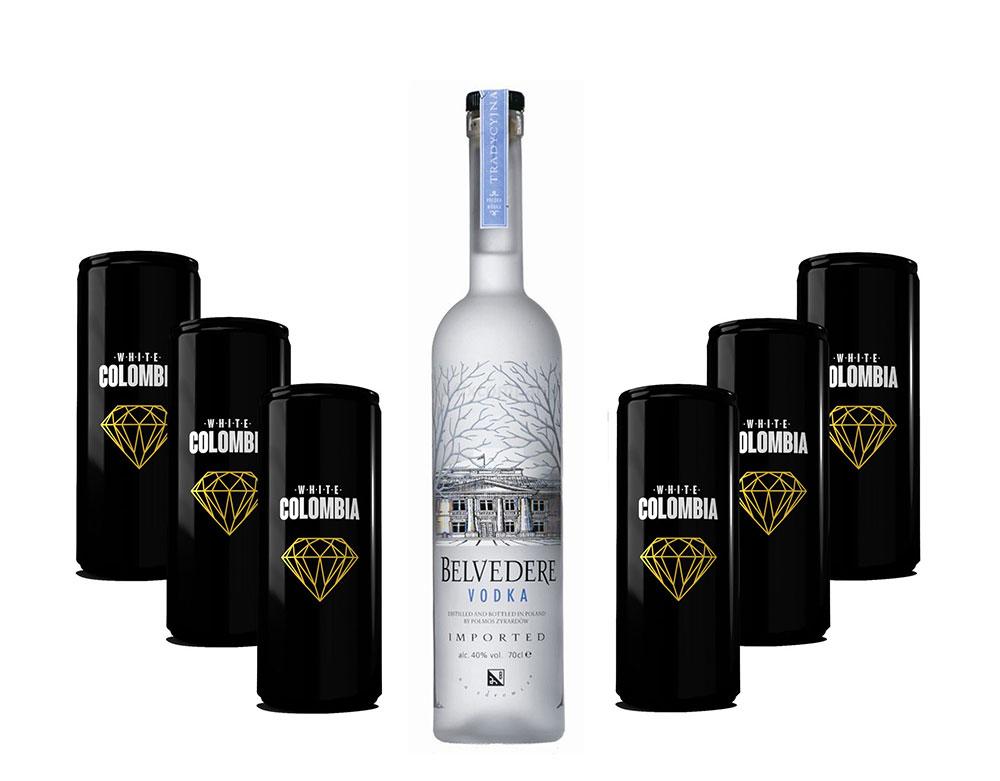 Belvedere Vodka 0,7l 700ml (40% Vol) + White Colombia Classic Set - Erfrischungsgetränk - 6x 250ml inkl. Pfand EINWEG- [Enthält Sulfite]