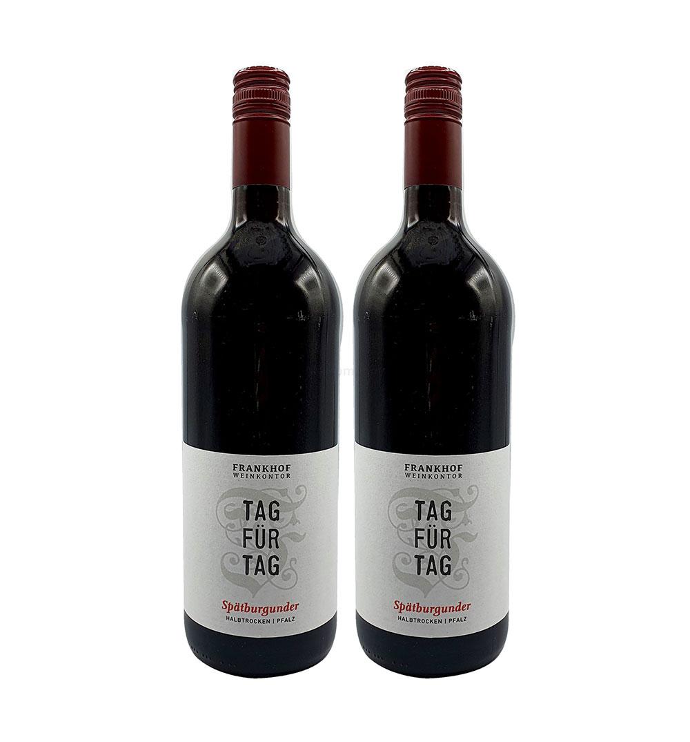 Tag für Tag Rotwein - 2er Set Spätburgunder Halbtrocken - 2x 1L (12,5% Vol) - Pfalz / Deutscher Qualitätswein- [Enthält Sulfite]
