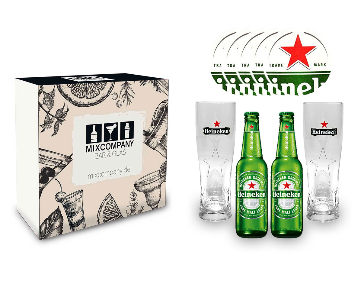 Heineken Pils Set / Geschenkset - 2x Heineken Pils 250ml (5% Vol) + 2x Heineken Gläser + 10x Heineken Bierdeckel - Inkl. Pfand MEHRWEG