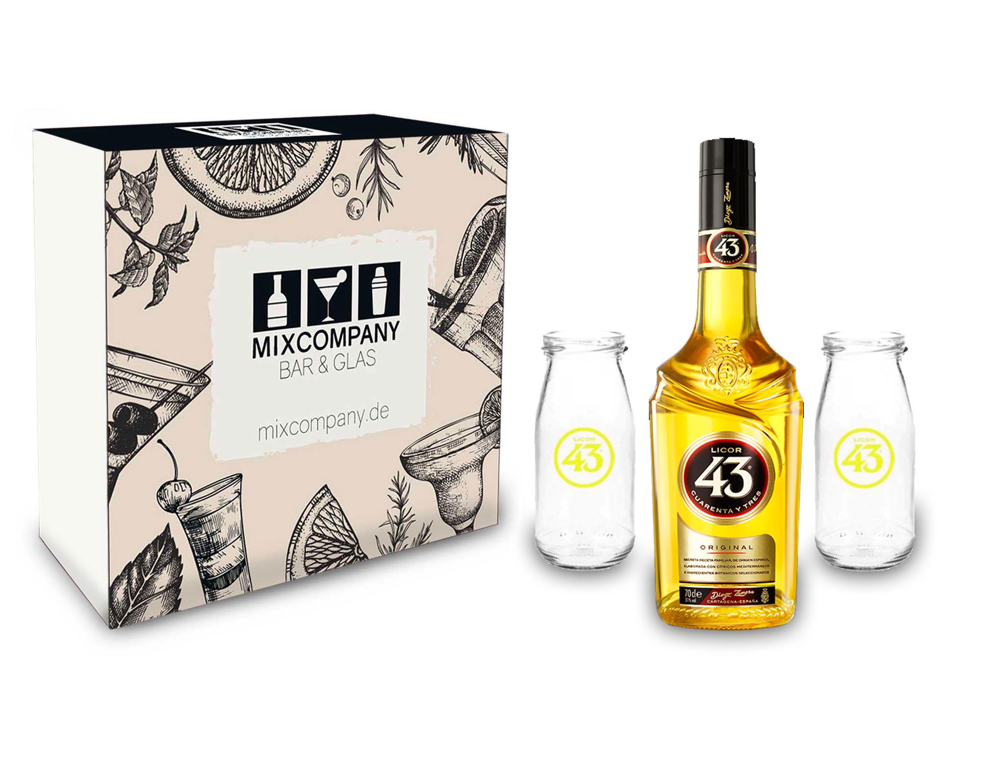 Licor 43 Set / Geschenkset - Licor 43 0,7l 700ml (31% Vol) + 2x Gläser Likör Liquor 43er