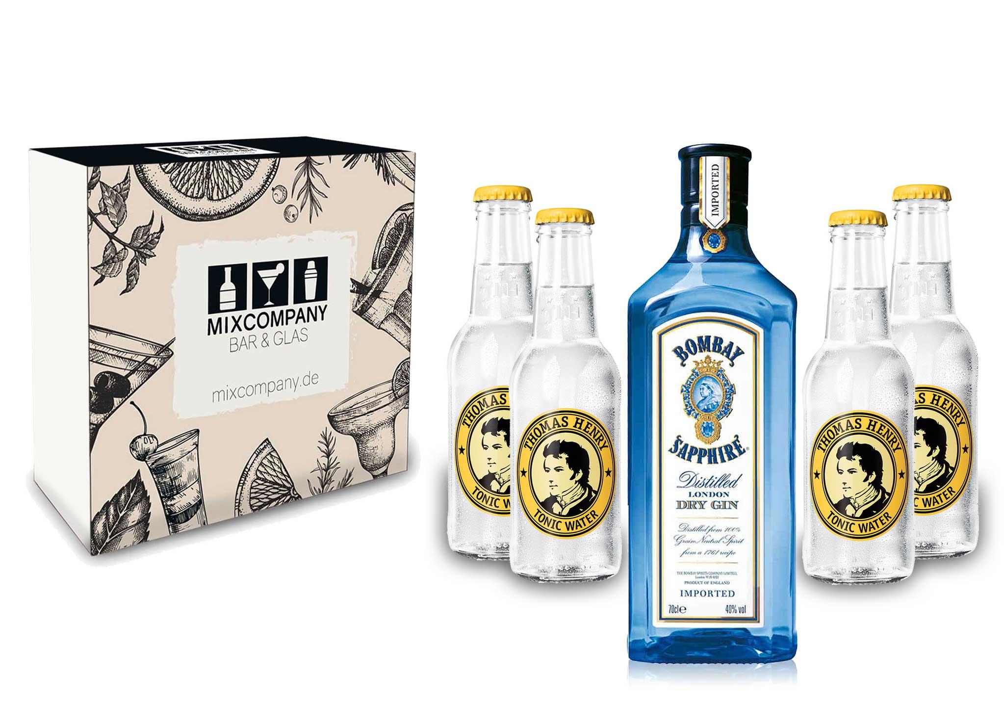 Gin Tonic Giftbox Geschenkset - Bombay Sapphire 0,7l 700ml (40% Vol) + 4x Thomas Henry Tonic Water 200ml inkl. Pfand MEHRWEG + Geschenkverpackung