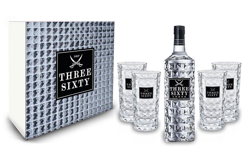 Three Sixty Schuber Geschenkset Geschenk Box - Three Sixty Vodka Wodka 0,7L 700ml (37,5% Vol) + 4x Gläser eckig Longdrink Glas 300ml Fassung Kristall Glas - [Enthält Sulfite]